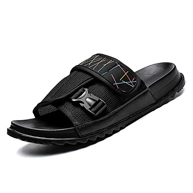 Men's Comfort Shoes Canvas & / Mesh Summer Slippers & Canvas Flip-Flops Black / Brown 8245b9