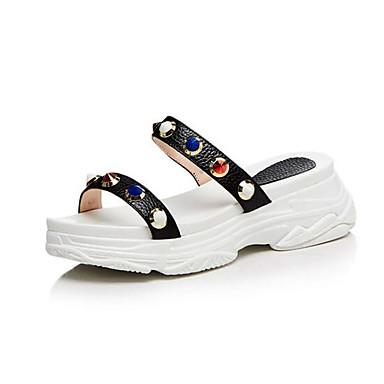 Femme Plat Daim Talon Chaussures Noir 06862459 Blanc Confort Eté Sandales YYnrFg4