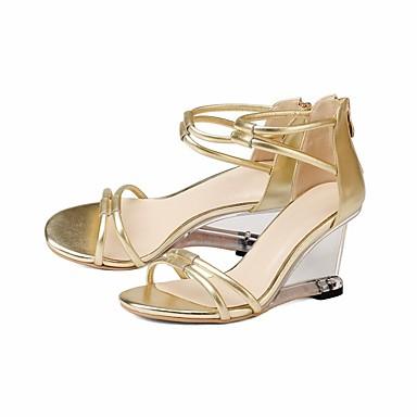 de Confort compensée Argent Cuir Nappa Hauteur Chaussures semelle Or Femme été Sandales Printemps 06848094 qX1n8
