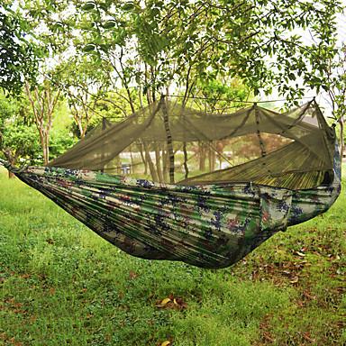 رخيصةأون مفروشات التخييم-أرجوحة شبكية للتخييم مع شبكة للوقاية من الناموس أرجوحة مزدوجة في الهواء الطلق المحمول متنفس خفيف جدا (UL) نايلون المظلة مع Carabiners وأشرطة الأشجار إلى 2 الأشخاص تخييم Camping / Hiking / Caving