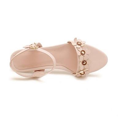 Primavera Morado PU Sandalias Tacón Rosa Negro Bajo Confort 06845237 Mujer Zapatos qUH84