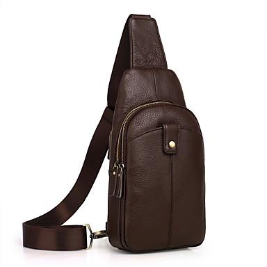 8ee16021704f Men s Bags Cowhide Sling Shoulder Bag Zipper Black   Coffee   Brown ...