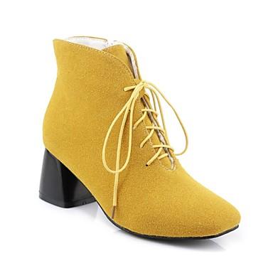 voordelige Dameslaarzen-Dames Laarzen Blokhak PU Comfortabel Herfst winter Zwart / Grijs / Geel