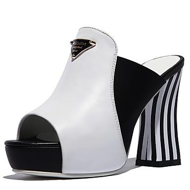Blanc 06862425 Chaussures Noir Sandales Talon Bottier Femme Cuir Eté Confort w0gqd6zxO