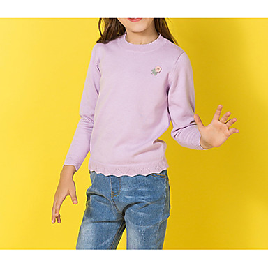 baratos Suéteres & Cardigans para Meninas-Infantil Para Meninas Básico Diário Sólido Bordado Manga Longa Padrão Algodão Suéter & Cardigan Roxo