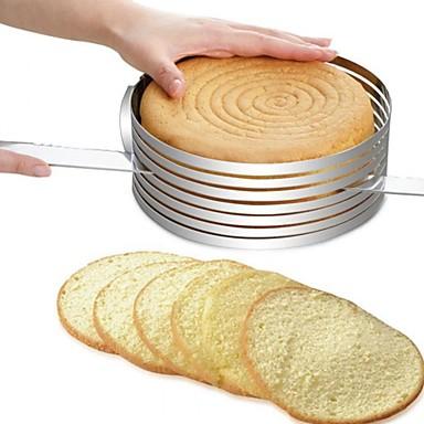 halpa Leivontavälineet-Bakeware-työkalut Ruostumaton teräs + A luokka ABS / Ruostumaton teräs Monikäyttö / DIY Leipä / Kakku / for Cake Pyöreä kakku Muotit / kakku Cutter 1kpl