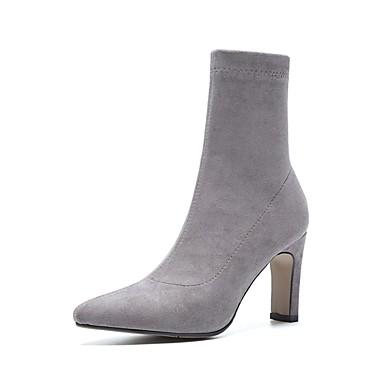 Gris Daim 06857372 Bottes hiver Noir Talon Chaussures Femme Confort Bottier Automne 7qH5z11x