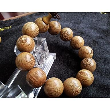 baratos Bijuteria de Mulher-Homens Pulseiras com Miçangas Pulseiras Vintage Clássico Contas Cabaça Estiloso Asiático Vintage Étnico De madeira Pulseira de jóias Amarelo Claro Para Cerimônia Festival / Madeira