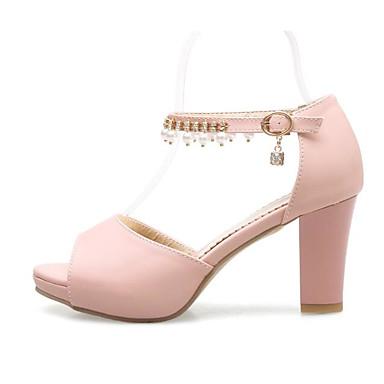 Women's Shoes PU(Polyurethane) Summer Comfort / Basic Pump Sandals Chunky / Heel White / Blue / Chunky Pink 0e7a0f