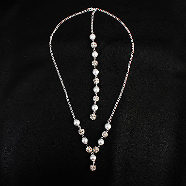 ec3184ff41c1 Women s Cubic Zirconia Stylish Necklace Charm Necklace Imitation Pearl  Stylish Elegant White 58 cm Necklace Jewelry 1pc For Wedding Party