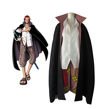 Inspired by One Piece Shanks Anime Cosplay Costumes Cosplay Suits Color Block Long Sleeve Blouse / Pants / Cloak For Men's