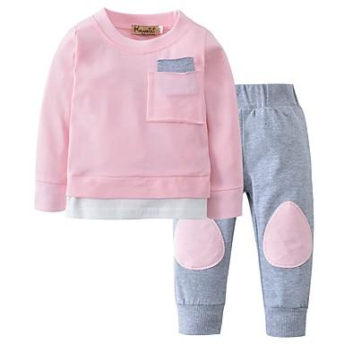 Μωρό Κοριτσίστικα Καθημερινό Καθημερινά Μονόχρωμο Patchwork Μακρυμάνικο  Κανονικό Βαμβάκι Σετ Ρούχων Ανθισμένο Ροζ   Νήπιο 486b160d6ab