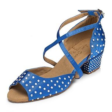 povoljno Cipele za salsu-Žene Plesne cipele Saten Cipele za latino plesove Kristalni detalji Tenisice Debela peta Plava / Vježbanje