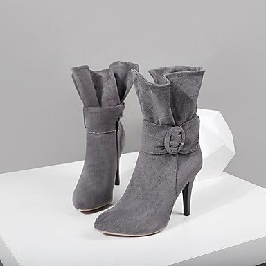 povoljno Ženske čizme-Žene Čizme Cipele od meke Stiletto potpetica Krakova Toe Kopča Mikrovlakana Čizme do pola lista Modne čizme Jesen zima Crn / Sive boje / Crvena / Zabava i večer