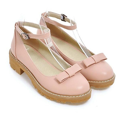 Women's PU(Polyurethane) / Spring Basic Pump Heels Low Heel Black / PU(Polyurethane) Blue / Pink 4ae0d3