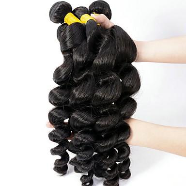 Недорогие Пряди натуральных волос-6 Связок Индийские волосы Свободные волны 8A Натуральные волосы Необработанные натуральные волосы Головные уборы Человека ткет Волосы Пучок волос 8-28 дюймовый Естественный цвет