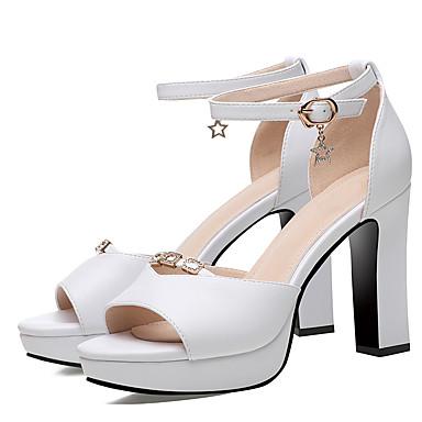 Sandales Talon Noir 06856990 Bride Cheville Bottier synthétique Blanc Femme Chaussures Matière Eté de Fxf0g8