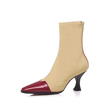 Amande Chaussures 06856495 Confort Nappa Femme hiver Cuir Aiguille Bottes Automne Talon Noir Rouge pBxdPw