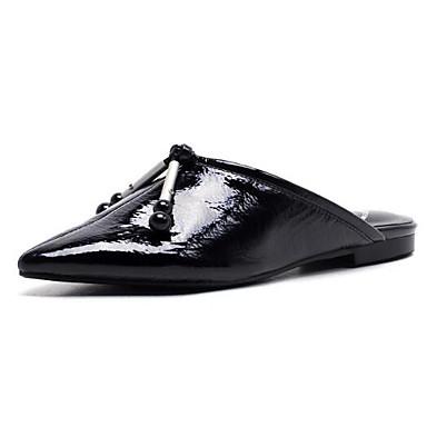 Printemps Femme Bout Noir fermé Mules Talon amp; Cuir Nappa Sabot 06850353 Confort Blanc Eté Chaussures Plat HtqrSH