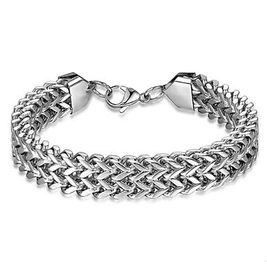 voordelige Herensieraden-Heren Armbanden met ketting en sluiting Dikke ketting Dromenvanger Eenvoudig Titanium Staal Armband sieraden Zilver Voor Dagelijks