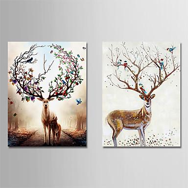 levne Obrazy a nástěnné dekorace-Grafika Reprodukce maleb na plátně - Zvířata Vintage Theme Moderní Umělecké tisky