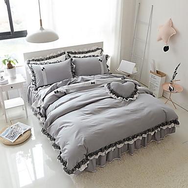 ensembles housse de couette couleur pleine polyester. Black Bedroom Furniture Sets. Home Design Ideas