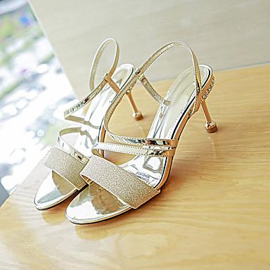 Tacón Verano Mujer Zapatos PU Dorado Talón 06856882 Descubierto Sandalias Noche Stiletto Plateado Fiesta y a1qf1w