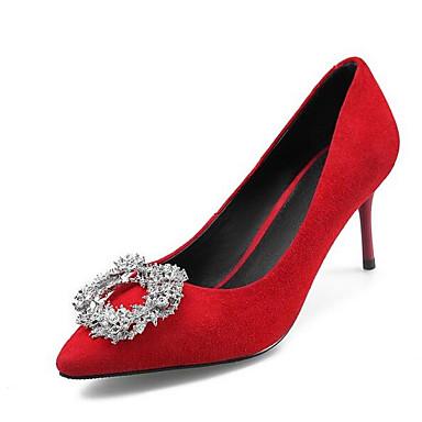 Basique 06841415 Talons Escarpin Printemps à Daim Chaussures Femme Chaussures Confort Aiguille Rouge Noir Talon wOqAXyca