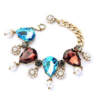 abordables Bracelet-Bracelet Femme Tendance Imitation Diamant Poire dames Elégant Classique Bracelet Bijoux Dorée pour Quotidien