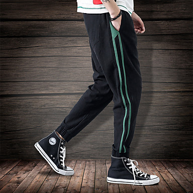 2e7be48a199b Ανδρικά Τσέπη Pantaloni de Alergat Παντελόνι για στίβο Μαύρο Καφέ Πράσινο  Χακί Αθλητισμός Ριγέ Βαμβάκι Παντελόνια
