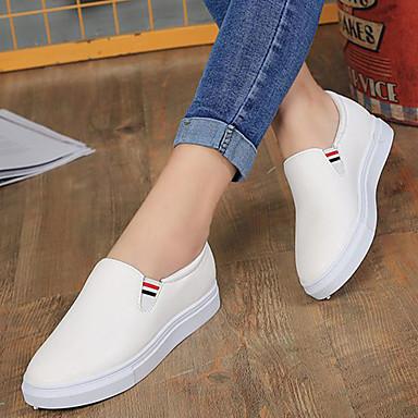 Confort Mujer Plano Blanco bajo redondo PU On Negro Verano Slip Zapatos 06849823 y Zapatos de Tacón Dedo taco ttrAq7pxw