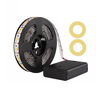 abordables Bandes Lumineuses LED-zdm 200cm / 6.56ft étanche 5050 smd led blanc chaud / froid blanc / rouge / bleu / vert ruban aa lumière de bande led alimenté par batterie dc5.5v