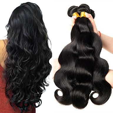 baratos Extensões de Cabelo Natural-6 pacotes Cabelo Peruviano Ondulado 8A Cabelo Humano Cabelo Humano Ondulado Cabelo Bundle Um Pacote de Solução 8-28 polegada Côr Natural Tramas de cabelo humano Melhor qualidade Para Mulheres Negras