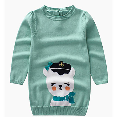 baratos Suéteres & Cardigans para Meninas-Infantil Para Meninas Básico Diário Estampado Manga Longa Longo Suéter & Cardigan Verde