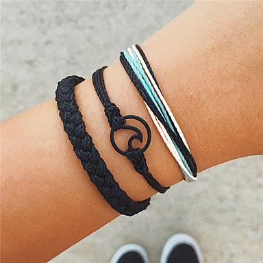 abordables Bracelet-3pcs Bracelets Vintage Bracelet Yoga Bracelet à maillons fait main Femme Tressé Corde Crossover Vague dames Bohème Punk Mode Bracelet Bijoux Noir Forme de Cercle Forme Géométrique pour Cadeau Soirée