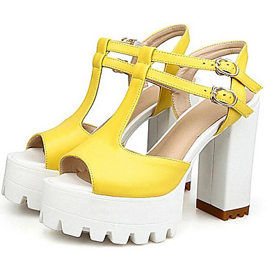 Amarillo Zapatos Blanco Cuadrado Confort Tacones Básico Pump 06841052 Microfibra Verano Tacón Mujer Negro aTFqwgg