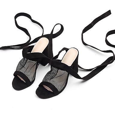 abierta Verano Puntera Tacón Cuadrado Negro Mujer Zapatos 06857299 Sandalias Ante Talón Descubierto 6ZwzZq4xE
