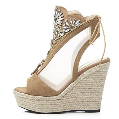 semelle Hauteur Eté Kaki Noir de Cuir 06849816 compensée Chaussures Femme Confort Sandales xqf0XXRE
