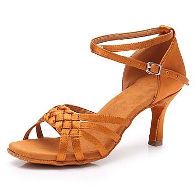 Women's Latin Shoes Satin Heel Slim Shoes High Heel Customizable Dance Shoes Slim Dark Brown 7852c7