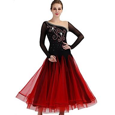 Für den Ballsaal Kleider Damen Leistung Elasthan / Organza Horizontal gerüscht / Kristalle / Strass Langarm Kleid