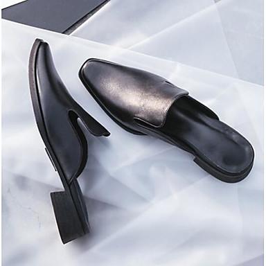 Block Femme Bout fermé Noir Chaussures 06846181 Sabot Nappa Heel Printemps Eté Cuir Mules amp; Confort wzPwf