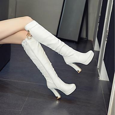 Noir Bottier Femme Bout Paillette Blanc à Rose rond Mode Talon Chaussures 06856895 Bottes Automne Polyuréthane hiver la Bottes Bottes Brillante SpqRT