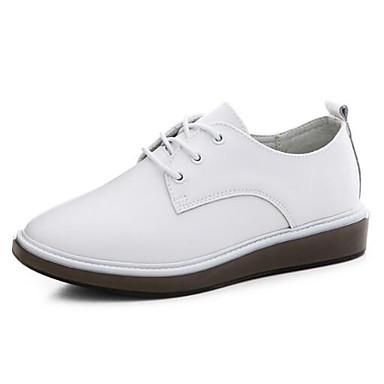Plat Chaussures Eté Talon Oxfords Femme Nappa Confort Noir fermé Printemps 06848442 Cuir Bout Blanc apIx8Iwdq