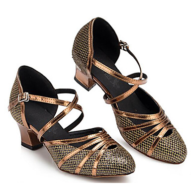 7708d459febb Mujer Zapatos de Baile Moderno Cuero Sintético Tacones Alto Talón grueso  Zapatos de baile Dorado / Bronce / Rendimiento / Entrenamiento