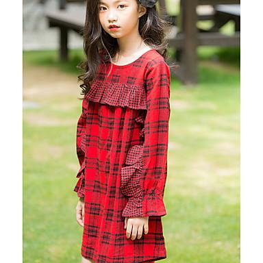 Χαμηλού Κόστους Φορέματα για κορίτσια-Παιδιά Κοριτσίστικα Βασικό Καθημερινά Καρό Patchwork Μακρυμάνικο Πάνω από το Γόνατο Βαμβάκι Πολυεστέρας Φόρεμα Ρουμπίνι