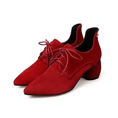 06849649 Oxfords Femme Automne Noir Bottier Chaussures Confort Talon Daim hiver Vin UUSawqZ
