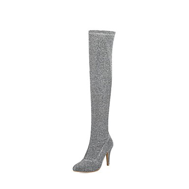 Automne Argent Chaussures Aiguille Bleu Tissu Talon 06858847 élastique hiver Cuissarde Rouge à la Bottes Femme Mode Bottes nFCxHx
