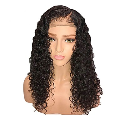 Χαμηλού Κόστους Συνθετικές περούκες με δαντέλα-Συνθετικές Περούκες / Συνθετικές μπροστινές περούκες δαντέλας Σγουρά Στυλ Κούρεμα με φιλάρισμα Δαντέλα Μπροστά Περούκα Μαύρο Μαύρο Σκούρο Καφέ Συνθετικά μαλλιά 18 inch Γυναικεία / με τα μαλλιά μωρών