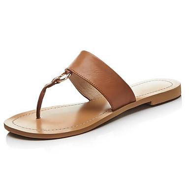 Negro Cuero Verano 06849887 Mujer Confort Sandalias Napa Zapatos Marrón Tacón de Plano qxnxPz5a