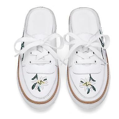 fermé 06850145 Bout Chaussures Talon Cuir amp; Eté Femme Mules Nappa Sabot Plat Blanc Printemps Confort 6a7Swq